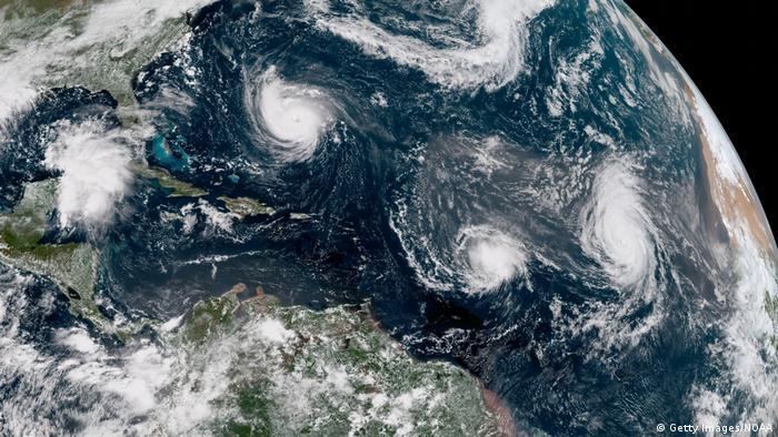 Satellite image of Hurricane Florence as it churns through the Atlantic Ocean toward the US East Coast