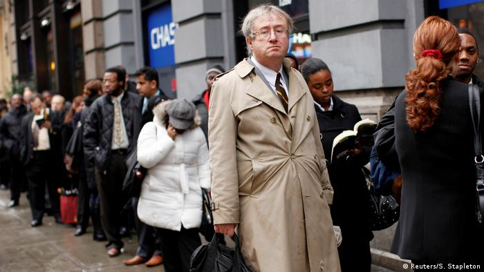 Eric Lipps, then 52, waits in line to enter the NYCHires Job Fair in New York