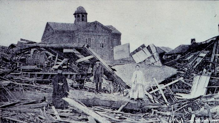 The devastation caused by a hurricane in Galveston, Texas, USA, in September 1900.
