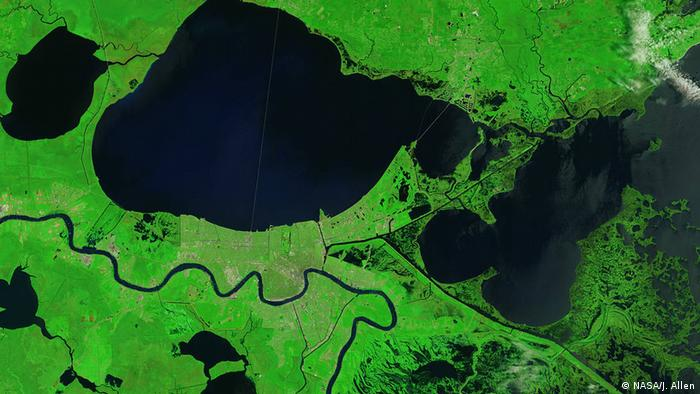 A satellite view of the wetlands surrounding Delacroix, a fishing town to the southeast of New Orleans, were some of the hardest hit by the hurricane