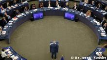 12.09.2018 *** European Commission President Jean-Claude Juncker delivers a speech during a debate on The State of the European Union at the European Parliament in Strasbourg, France, September 12, 2018. REUTERS/Vincent Kessler