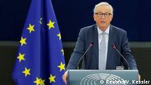 12.09.2018 *** FILE PHOTO: European Commission President Jean-Claude Juncker delivers a speech during a debate on The State of the European Union at the European Parliament in Strasbourg, France, September 12, 2018. REUTERS/Vincent Kessler/File Photo