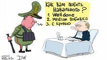 DW-Karikatur von Sergey Elkin - Drohung gegen Nawalnyj