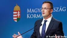 Ungarn, Budapest: Außenminister Peter Szijjarto hält eine Pressekonferenz