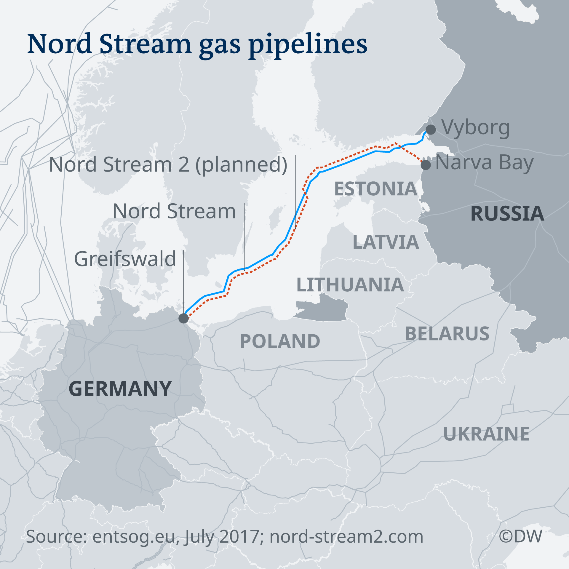 A map showing the route of Nord Steeam and Nord Steam 2