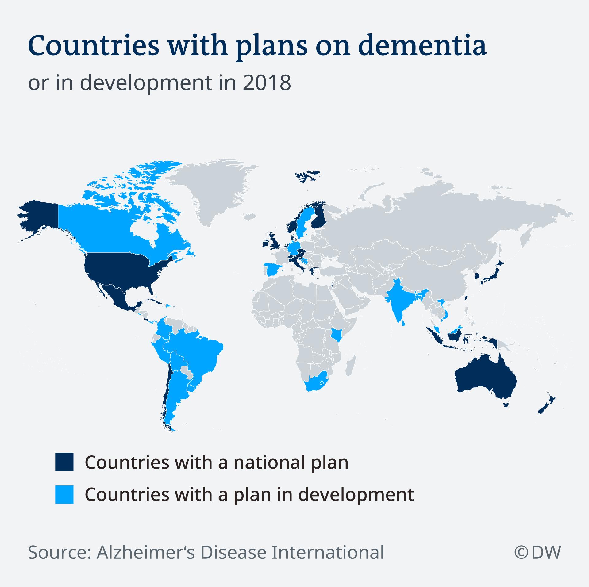 Infografik Karte Countries with plans on dementia EN