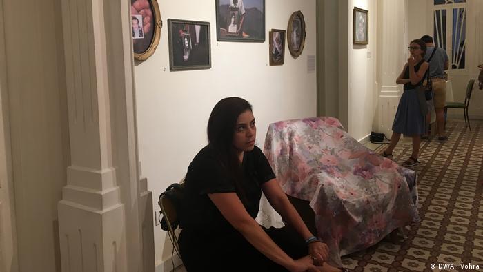 Visitors at an art exhibition (Anchal Vohra)