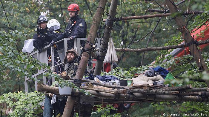 En el bosque de Hambach, numerosos ambientalistas se han refugiado en casas construidas en los árboles.