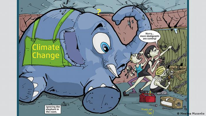 A cartoon from Mwelwa Musonko showing an elephant