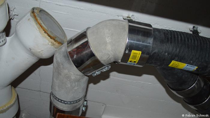 Asbestos pipes repaired with metal pipe elements