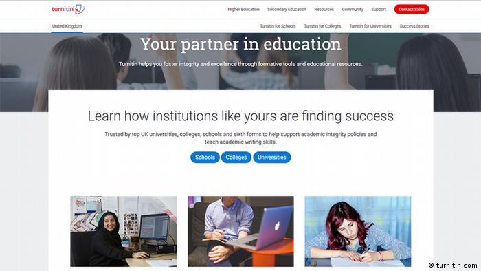 Screenshot of the website turnitin.com