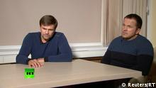 A still image taken from a video footage and released by RT international news channel on September 13, 2018, shows two Russian men with the same names, Alexander Petrov and Ruslan Boshirov, as those accused by Britain over the case of former Russian spy Sergei Skripal and his daughter Yulia, during an interview at an unidentified location, Russia. RT/Handout via REUTERS TV ATTENTION EDITORS - THIS PICTURE WAS PROVIDED BY A THIRD PARTY. NO RESALES. NO ARCHIVES. MANDATORY CREDIT.