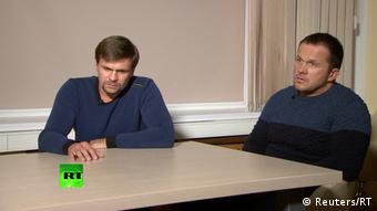 Александр Петров и Руслан Боширов дают интервью после покушения на Скрипалей