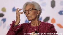Christine Lagarde, Managing Director of International Monetary Fund IMF attends the opening session of the Opportunities For All economic conference in Marrakech, Morocco, Tuesday, Jan. 30, 2018. The conference supported by the IMF and the Arab Monetary Fund gathered over three hundred leaders from state and private sectors across the region to address the economic challenges it faces. (AP Photo/Mosa'ab Elshamy) |