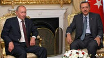 Russian Prime Minister Vladimir Putin, left, with Turkish Prmie Ministed Recip Tayyip Erdogan