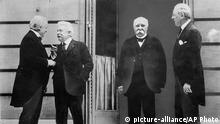 Pariser Friedenskonferenz 1919 - The Big Four: David Lloyd George, Vittorio Orlando, Georges Clemenceau und Woodrow Wilson (v.r.n.l.)
