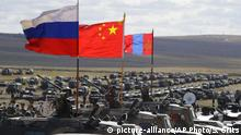 Russland Vostok 2018 War Games | Flagge Russland, China, Mongolei