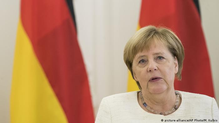Angela Merkel speaking at a meeting with leaders from the Baltic states in the Lithuanian capital of Vilnius