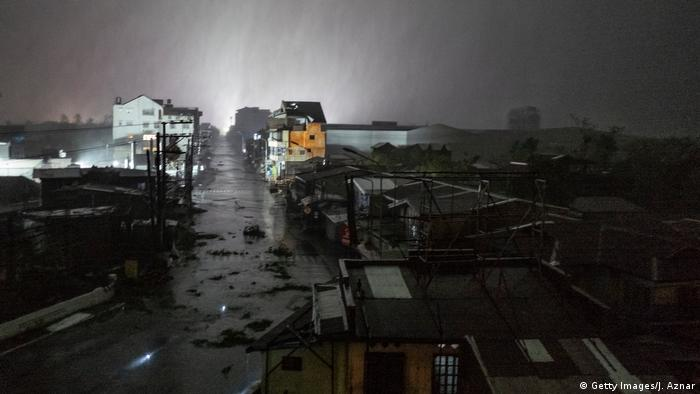 Rain covers the city of Tuguegarao in the Philippines during Typhoon Mangkut
