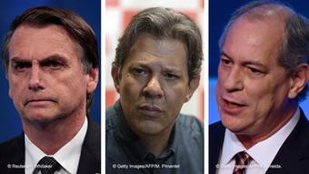 O presidente Jair Bolsonaro (e) e os ex-presidenciáveis Fernando Haddad (c) e Ciro Gomes (d)