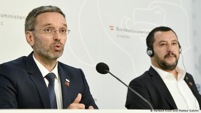 Österreich Wien Herbert Kickl und Matteo Salvini auf der Konferenz der EU Innenminister (Herbert Kickl und Matteo Salvini )