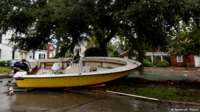 A boat is seen on the street of New Berg, North Carolina