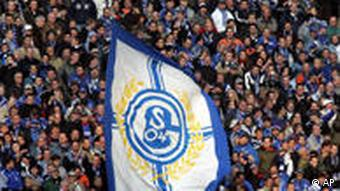 Schalke-Fans mit Fahne (Foto: AP)