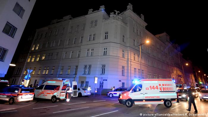 An ambulance outside a detention facility in Vienna