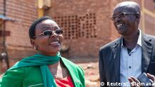 Rwandan politician of the unregistered FDU-Inkingi opposition party, Victoire Ingabire (L), and lawyer Gatera Gashabana are seen at the Mageragere Prison in Kigali, Rwanda September 15, 2018. REUTERS/Jean Bizimana