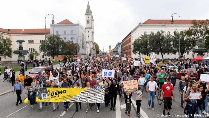 Крупная демонстрация за доступное жилье в Мюнхене в сентябре 2018 года