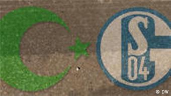 Symbolbild türkischer Halbmond und Schalke 04-Logo (DW-Grafik: Peter Steinmetz)