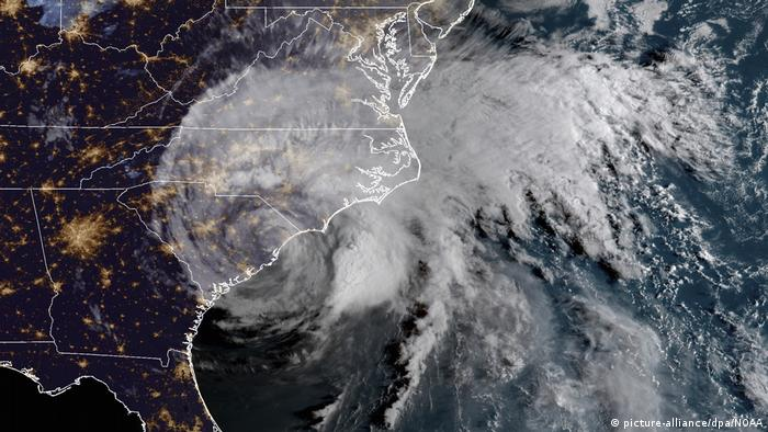 A satellite image of Hurricane Florence
