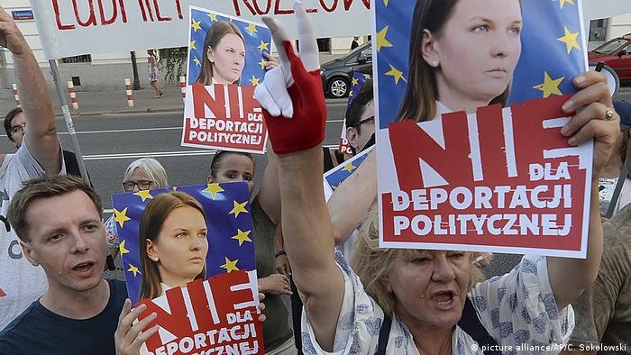 People rally in support of Lyudmyla Kozlovska