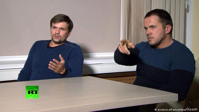 Ruslan Boshirov (L) and Alexander Petrov give an interview to the RT news channel.