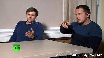 Боширов и Петров, они же Мишкин и Чепига, оказавшиеся в Солсбери в день отравления Скрипалей. На фото: предполагаемые офицеры ГРУ во время интервью
