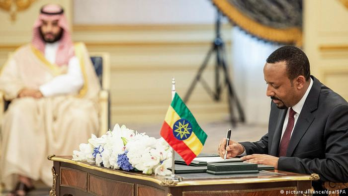 Ethiopian Prime Minister Abiy Ahmed signs a peace agreement with Eritrea in Saudi Arabia