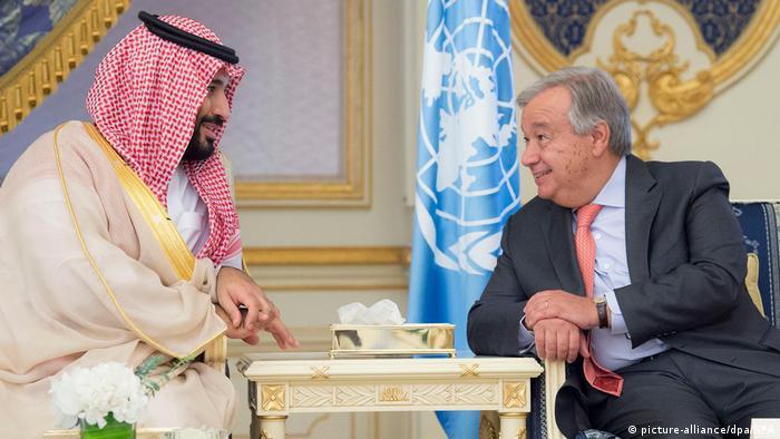 Saudi Arabien Äthiopien und Eritrea schließen Freundschaftsvertrag | Kronprinz Mohammed bin Salman al-Saud und UN-Generalsekretär Antonio Guterres