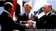 Sadat, Carter und Begin besiegeln Unterzeichnung des ägyptisch-israelischen Friedensvertrages in Washington 1979