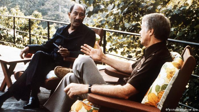 Camp David 1978 Ägypten - Israel Friedensverhandlungen Sadat Carter (picture-alliance/ dpa)