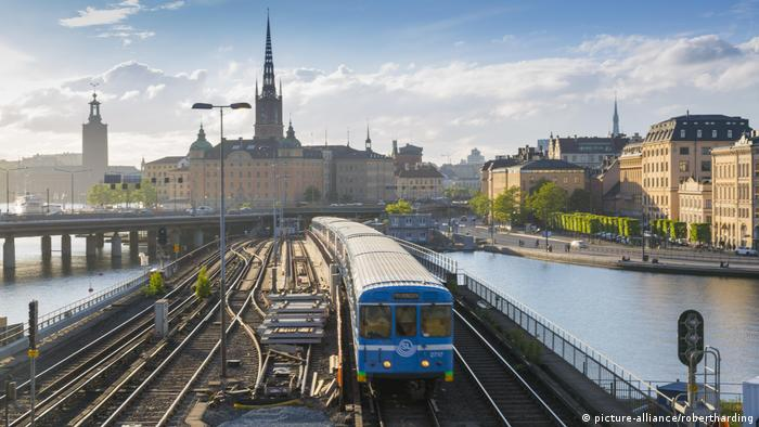 A train is seen on tracks in Stockholm, Sweden