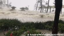 Waves caused by Typhoon Mangkhut is seen in Hong Kong, China in this still image from a September 16, 2018 video from social media. Twitter/@ALEXHOFFORD/via REUTERS ATTENTION EDITORS - THIS IMAGE HAS BEEN SUPPLIED BY A THIRD PARTY. MANDATORY CREDIT. NO RESALES. NO ARCHIVE.