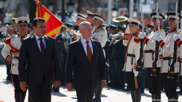 James Mattis, Zoran Zaev, walking past soldiers