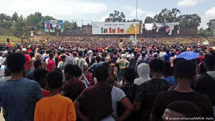 Thousands of people gather at a square in Addis Ababa to demonstrate against the latest wave of ethnic violence