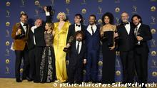 LOS ANGELES, CA - SEPTEMBER 17: George RR Martin and Game Of Thrones Cast in the press room at the 70th Primetime Emmy Awards at the Microsoft Theater in Los Angeles, California on September 17, 2018. Credit: Faye Sadou/MediaPunch |