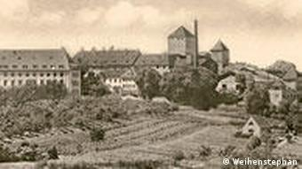 Old black and white photo of monastery