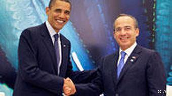 US-Präsident Barack Obama und Mexikos Präsident Felipe Calderon beim Nordamerikagipfel. Foto: ap