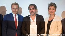 M100 Media Award - Deniz Yücel, Christian Lindner und Ines Pohl bei Verleihung des M100 Media Award 2018