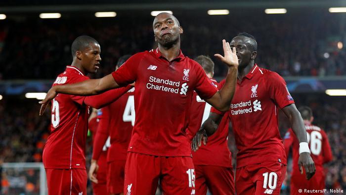 Liverpool's Daniel Sturridge celebrates his opener