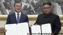 Nordkorea Moon Jae In, Präsident Südkorea & Kim Jong Un in Pjöngjang