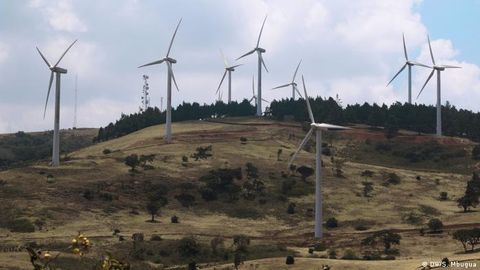 Modern windmills on a hill in Ngong